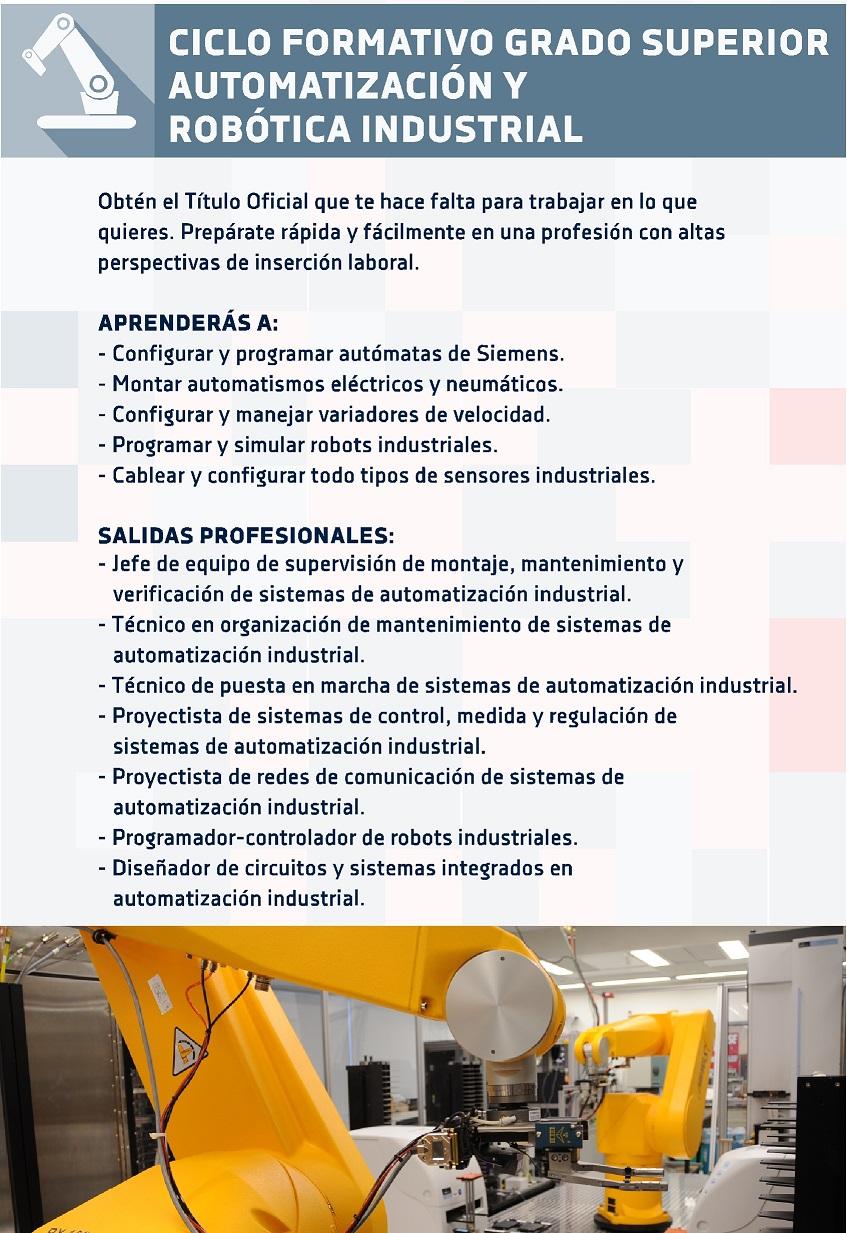 Cfgs Técnico Superior En Automatización Y Robótica
